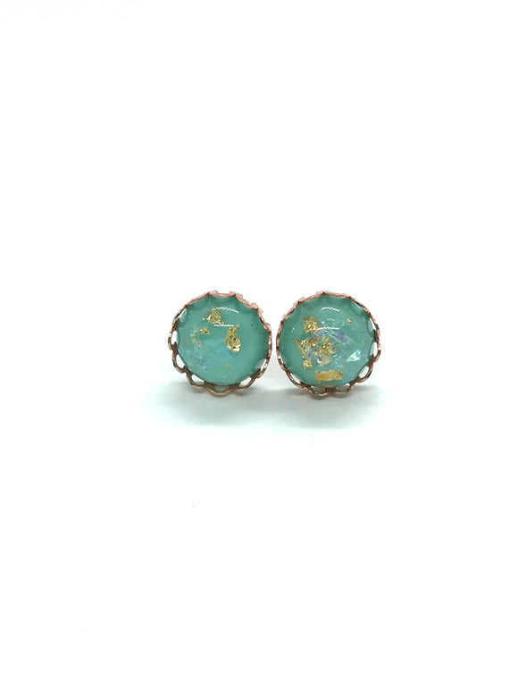 Pale Turquoise Colour Earrings in Rose Gold