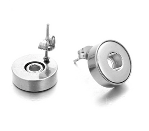 Stainless Steel Snap Stud Earrings