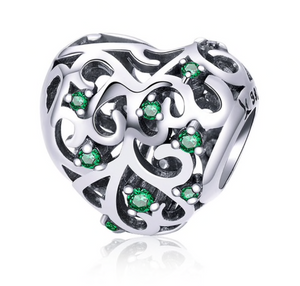 Heart With Green Rhinestones Sterling Silver European Charm