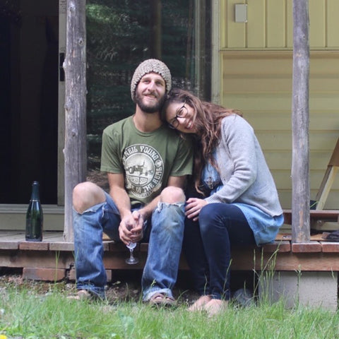 Tiny Life Supply ambassadors Paul & Danielle sitting together on a porch.