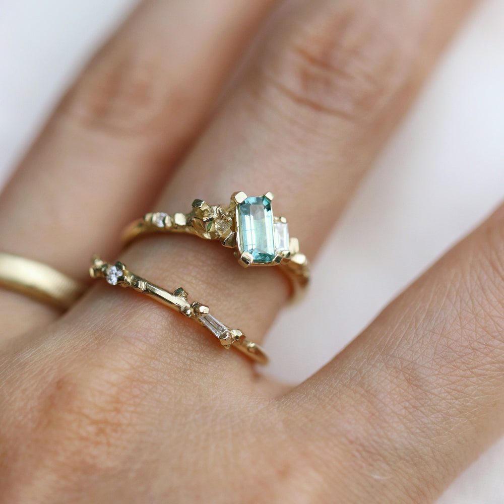 Load image into Gallery viewer, Pyrite Ring with Green Tourmaline & Diamonds - Cabinetofcuriosityjewellery