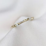 Dainty pyrite stackable ring with diamonds
