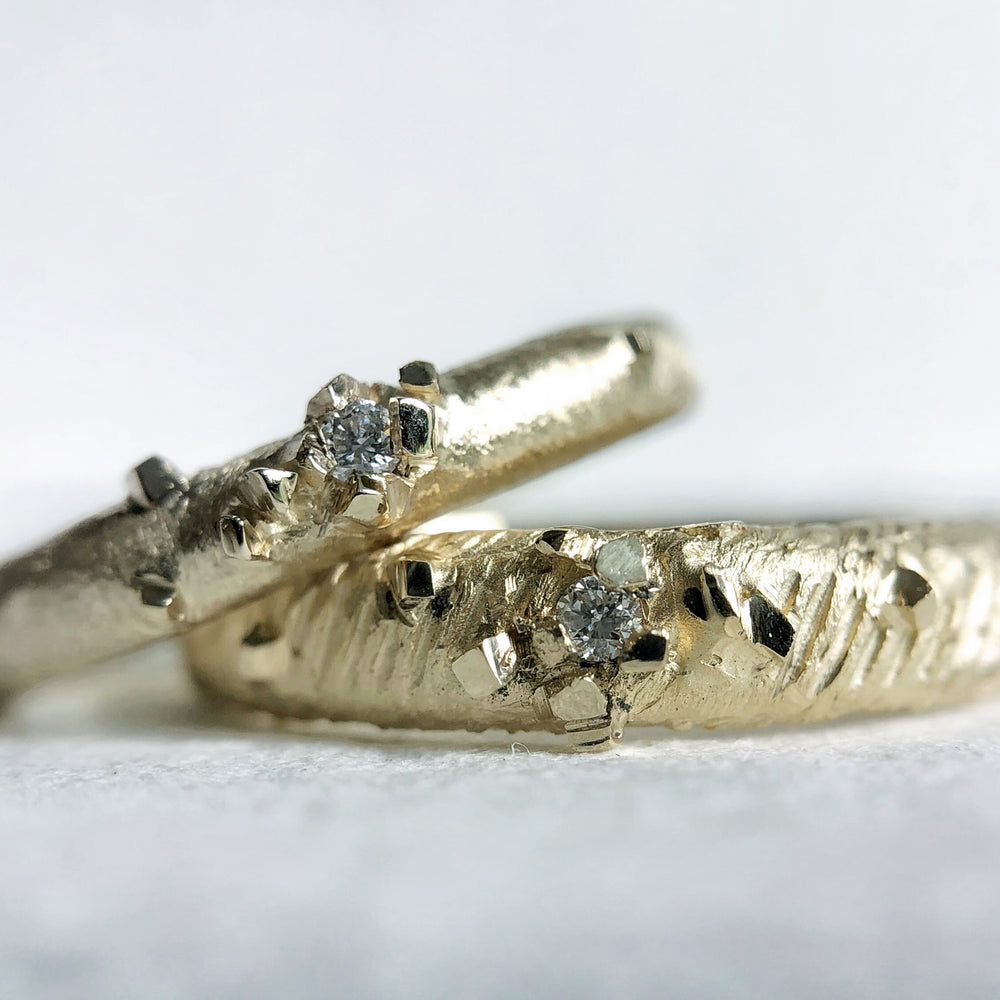 Pyrite Diamond Wedding Bands