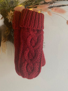 Rella - Cable Knit Mittens in Dahlia Red