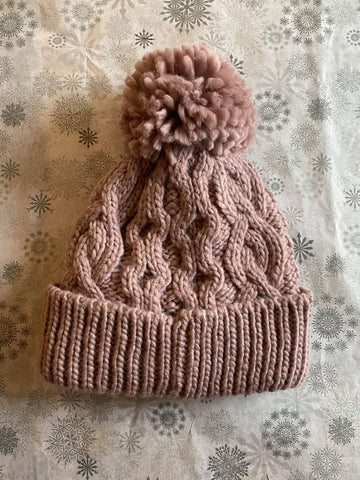 Rella - Cable Knit Pom Hat in Mauve