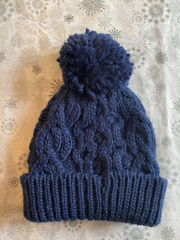 Rella - Cable Knit Pom Hat in Navy