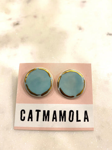 Catmamola Ceramics - Flat Stud Earrings in Sky Blue
