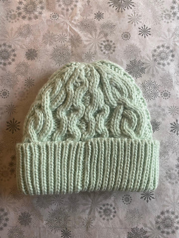 Rella - Cable Knit Hat in Mint