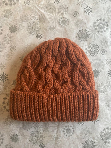 Rella - Cable Knit Hat in Baked Clay