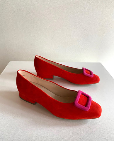 Peter Kaiser - Suede Flats in Pink & Red