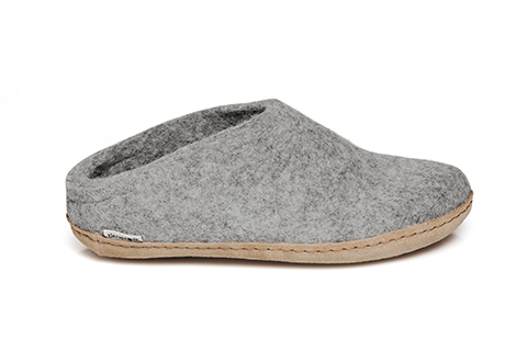 Glerups - Grey Open-Heel Leather Sole