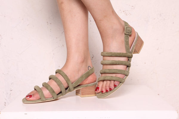Intentionally Blank - Strappy Suede Sandals in Sage