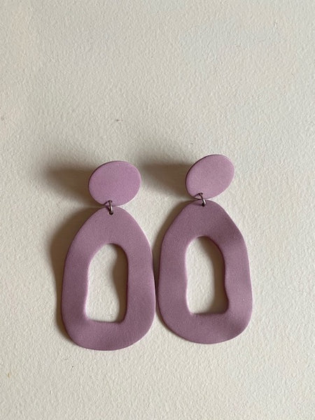 Four Eyes Ceramics - Large Cutout Dangle Earrings in Violet