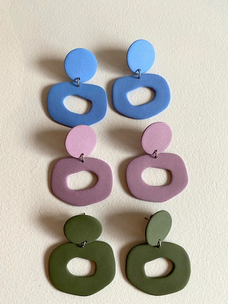 Four Eyes Ceramics - Small Cutout Dangle Earrings in Violet