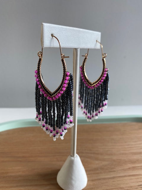 Keitha Keeshig-Tobias - Black & Pink Beaded Earrings