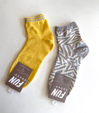 FUN Socks - Yellow with Glitter Trim & Grey with Glitter Detail