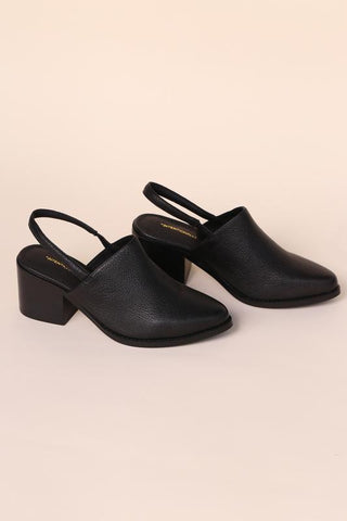 Intentionally Blank - Slingback Mule Black Leather