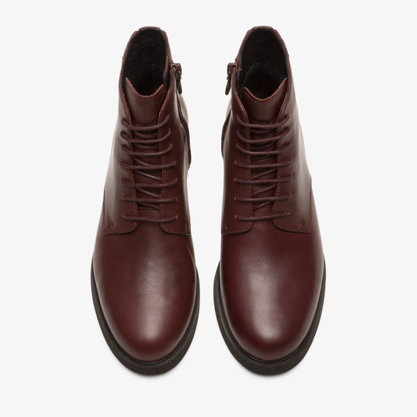 Camper - Waterproof Leather Lace Up Boots in Burgundy