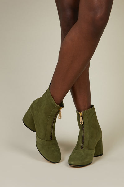 Intentionally Blank - Khaki Teardrop Heel Boot