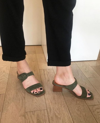 L'Intervalle - Square Toe Heeled Sandals in Khaki