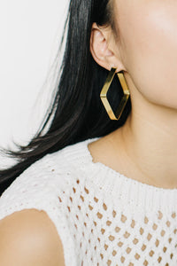 Tiny Asteroid - Brass Square Hoops