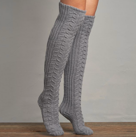 Lemon - Chunky Cable Over the Knee Socks in Grey