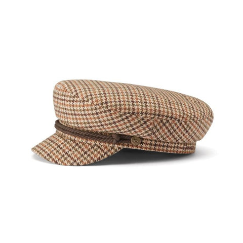 Brixton - Fiddler Cap in Tan Plaid