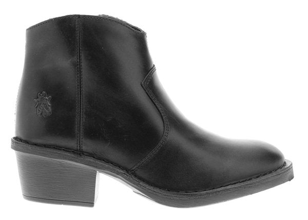 Fly London - Zip Up Ankle Boot in Black Leather