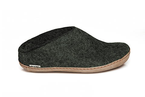 Glerups - Forest Green Open-Heel Leather Sole