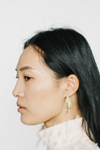 Tiny Asteroid - Brass Hands Earrings