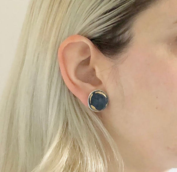 Catmamola Ceramics - Flat Stud Earrings in Dark Navy