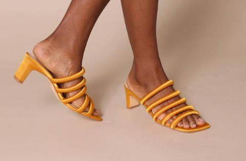 Intentionally Blank - Gold Satin Mules