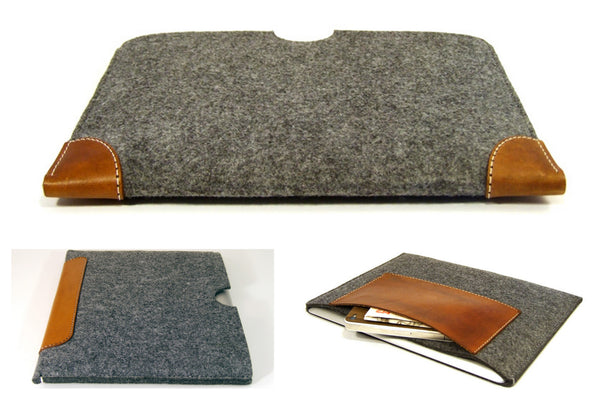 DELL XPS 13 felt sleeve case with LEATHER