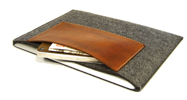 iPad PRO (ALL MODELS) grey felt sleeve case with premium LEATHER POCKET