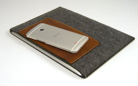 iPad grey felt case sleeve with large premium leather pocket - ALL MODELS