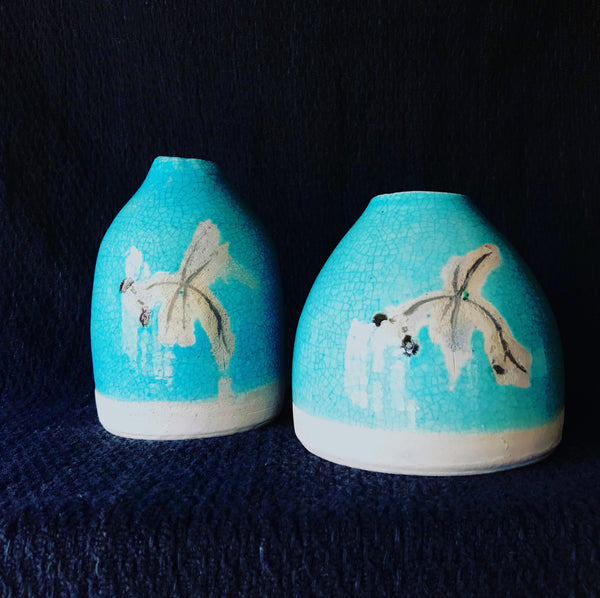 earthenware dragonfly pods with turquoise crackle glaze
