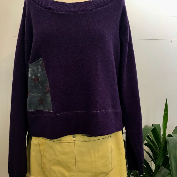 Plum wool jumper with star panel
