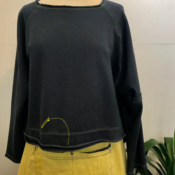 Wide neck cotton crop sweatshirt