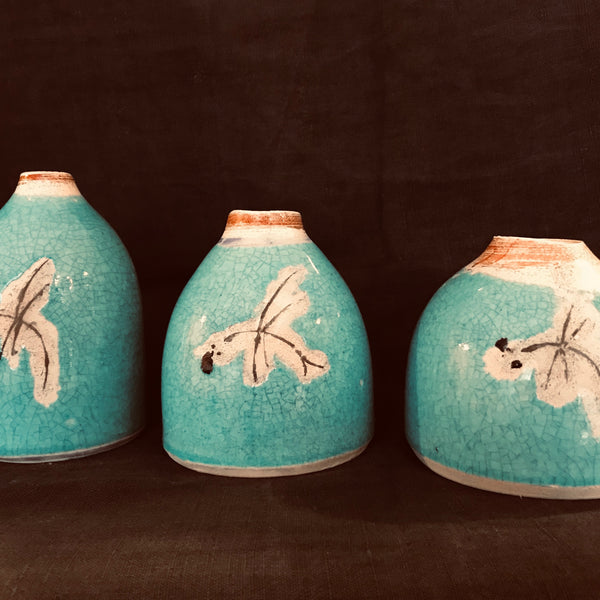 earthenware dragonfly pods with orange rim