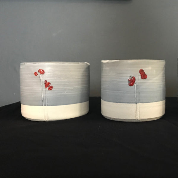 earthenware beakers with Japanese flower design