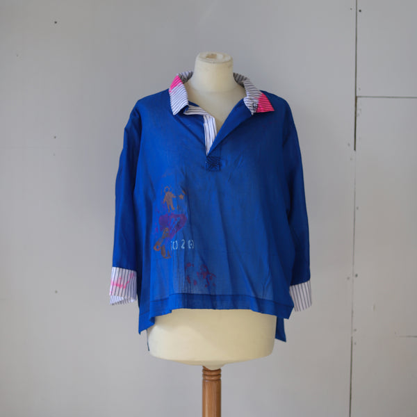 Cobalt blue fine cotton shirt