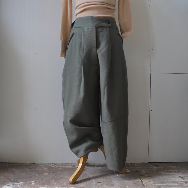 Beautiful sage wool curved trousers