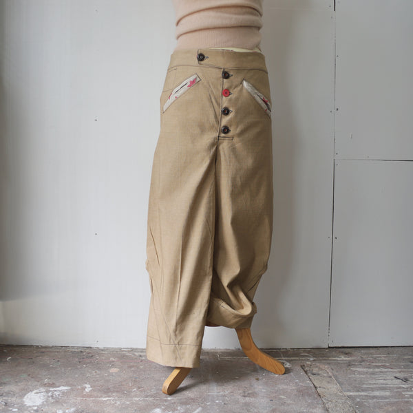 Cotton drill curved fit trousers