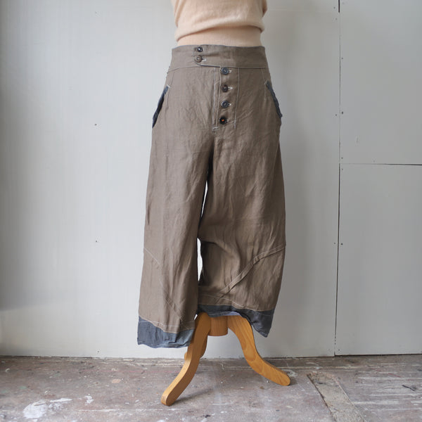 Irish linen curved trousers