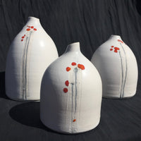 earthenware pods matt white Japanese flower