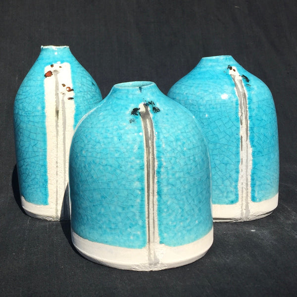 Turquoise crackle glaze pods with Japanese flower design