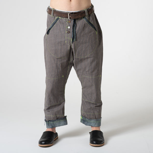 check cotton trousers