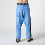 patch dyed blue cotton trousers