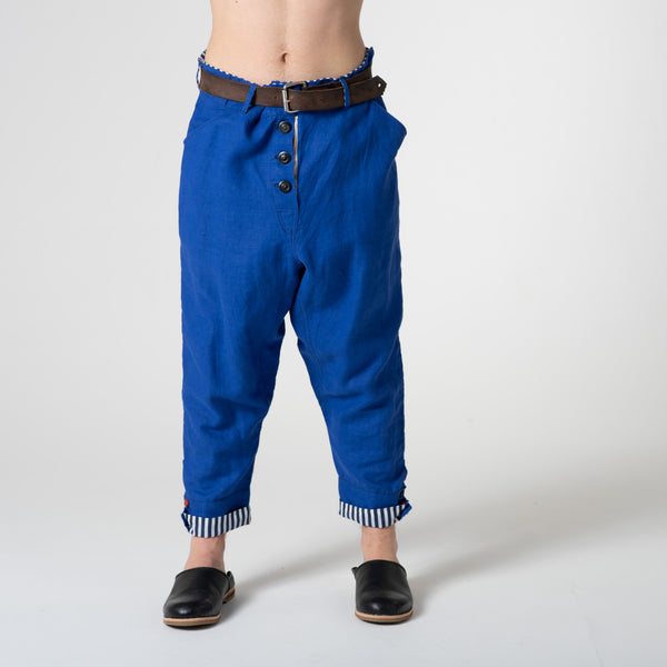cobalt blue linen trousers