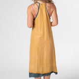 Burnt gold silk dress
